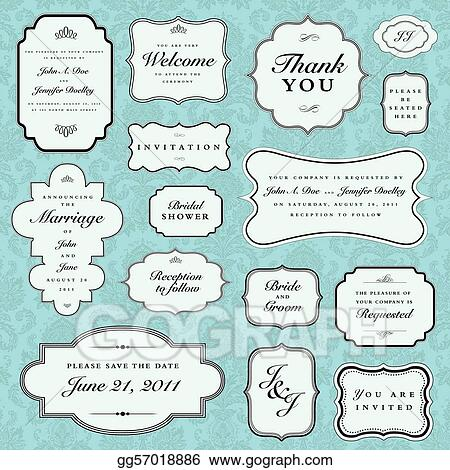 Vector Blue Wedding Frame Set