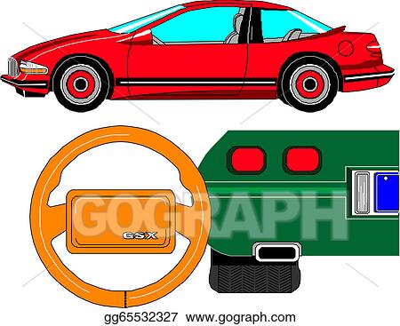 Clipart vector car dashboard square icon stock illustration