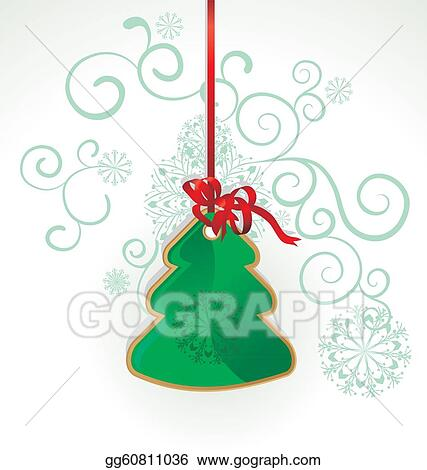 vector christmas tree toy hanging on the red ribbon on white flourishes background illustration