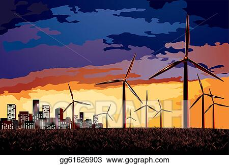 Vector. Electrical windmill over evening cityscape scene.