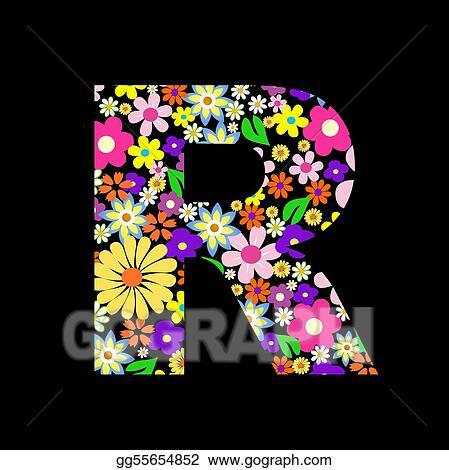 Vector flower font  letter R  R Letter In Flower