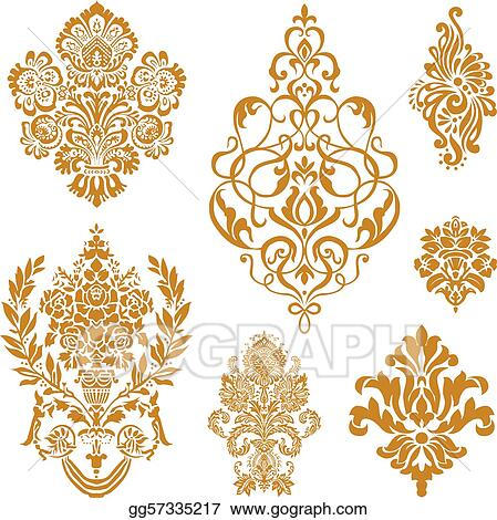 Vector Gold Damask Ornament Set