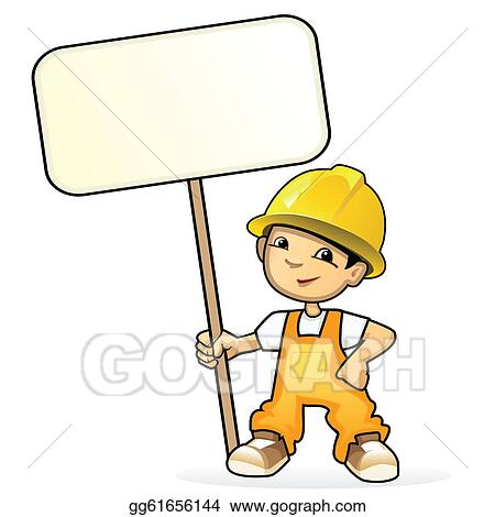 Vector illustration of a young builder with sign
