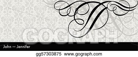 Vector Long Swirl Ornament Frame and Background