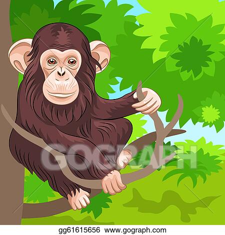 ... jungle monkey funny animal jumping in jungle vector illustration