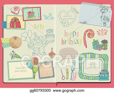 Vector Scrapbook Design Elements - Happy Birthday Set -  hand drawn in notepad