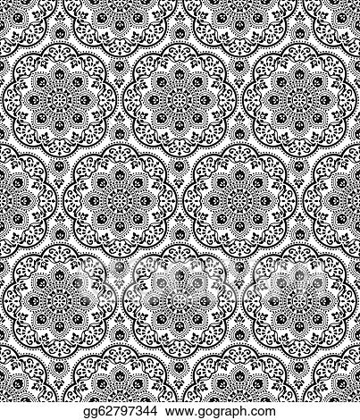 Clip art vector seamless damask pattern stock illustration