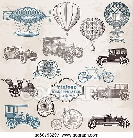 Vector Set: Vintage Transportation - collection of old-fashioned illustrations