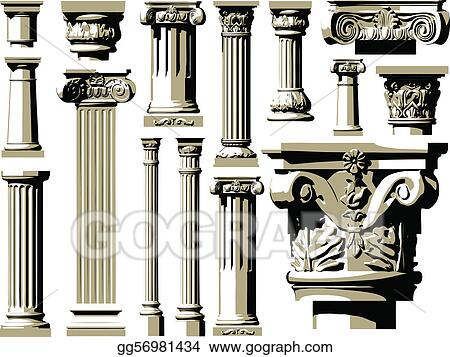 Vector set of vintage ancient colum