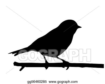 vector silhouette of the small bird on branch