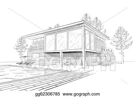 Vector art vector sketch of modern house clipart for Chaise 3d dessin
