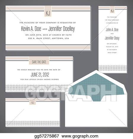 Vector Wedding Frame Set and Envelope
