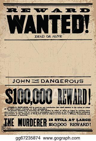 Superb Clip Art Vector   Vector Western Wanted Reward Poster Template