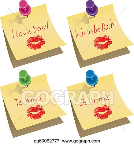 vector yellow paper notes with push pin and I love you words