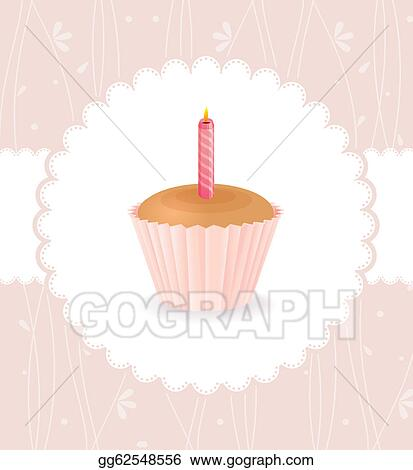 Vector Stock - Vintage card with birthday cake. Stock Clip Art ...