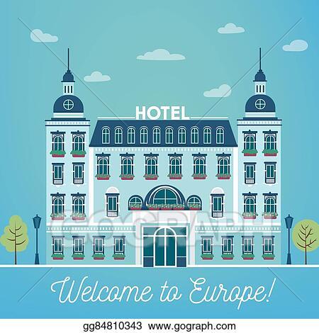 Clip Art Vector - Vintage european city hostel. travel industry ...