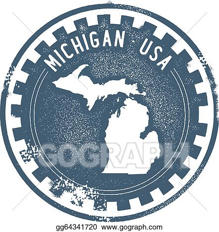 stock illustration vintage michigan usa state stamp. Black Bedroom Furniture Sets. Home Design Ideas