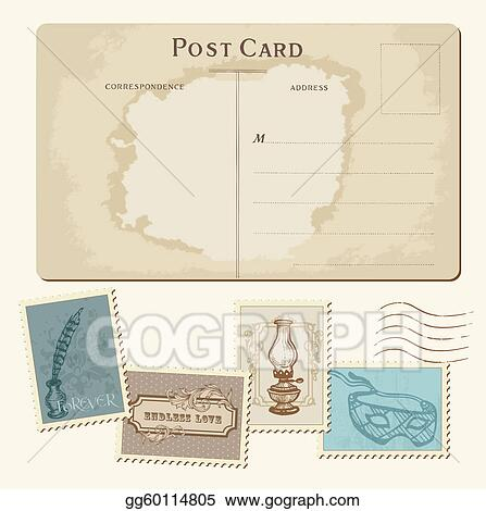 Drawings Vintage Postcard And Postage Stamps For