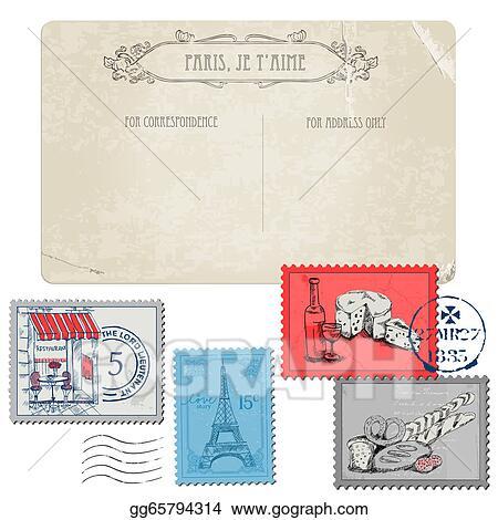 Stock Illustrations Vintage Postcard With Set Of Stamps