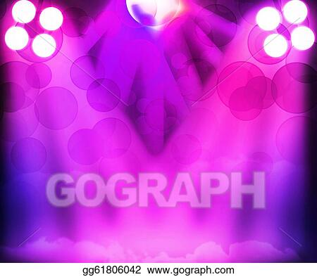 Drawing - Violet disco stage spotlight background. Clipart Drawing ...