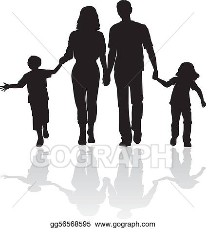 Walking family silhouette.