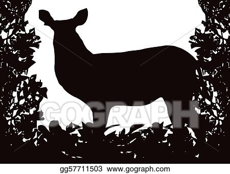 Waterbuck in Isolated Bush Frame Vector
