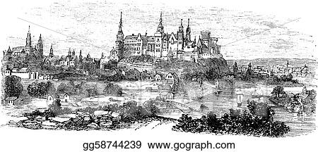 Wawel Castle or Royal Castle in Krakow, Poland, during the 1890s, vintage engraving