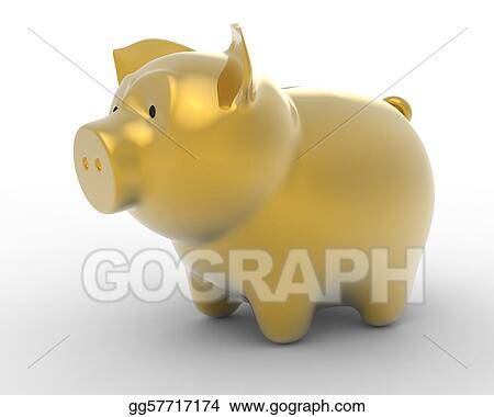 Wealth: Golden piggy bank over white