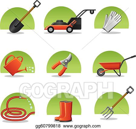 Clip art vector web icons garden tools stock eps for Gardening tools clipart
