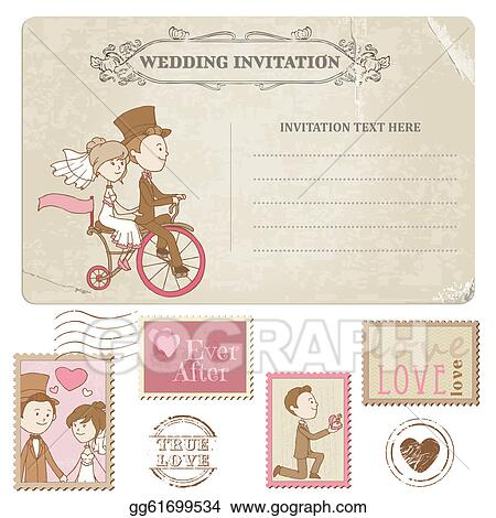 Vector Art Wedding Postcard And Postage Stamps For