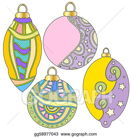 Stock Illustration - Whimsical christmas baubles. Clipart ...