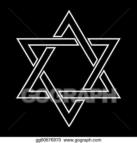 Clipart - White jewish star design on black background ...