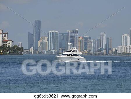 Stock illustration white motor yacht and miami skyline Miami dade motor vehicle registration