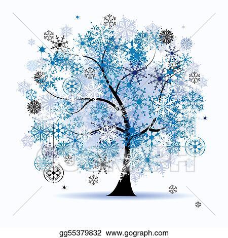 Vector Stock - Winter tree, snowflakes. christmas holiday. Stock ...