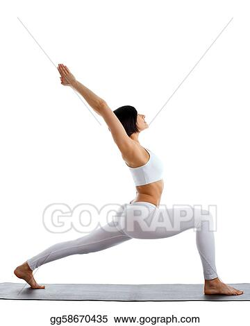 woman exercise yoga pose on rubber mat isolated