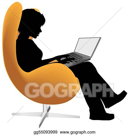 Woman sits in chair to work shop on laptop computer