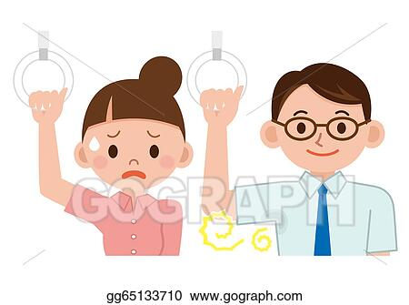 Stock Illustration - Women make a face to smell . Clipart Drawing