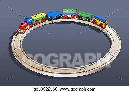 wooden toy train on tracks