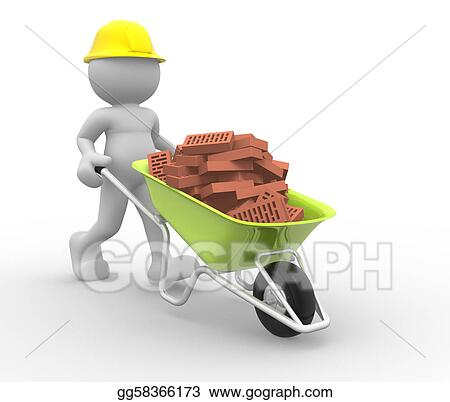 Worker with helmet and wheelbarrow