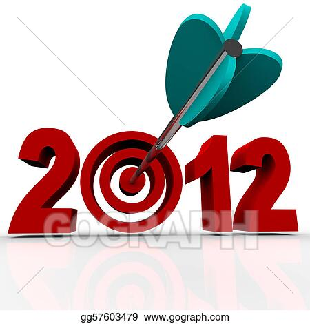 Year 2012 in Red Numbers with Arrow in Target Bulls-Eye