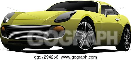 Yellow sport  car on the road. Col