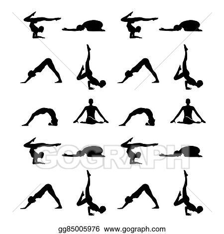 Vector Illustration - Yoga poses silhouette wallpaper . EPS ...