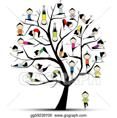 Yoga practice tree concept for your design