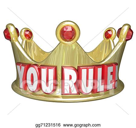 Clipart - You rule gold crown words king queen monarch top ruler ...