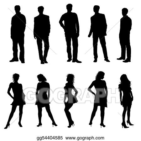 Young adults silhouettes black white