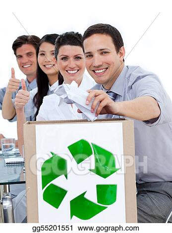 Young business people showing the concept of recycling