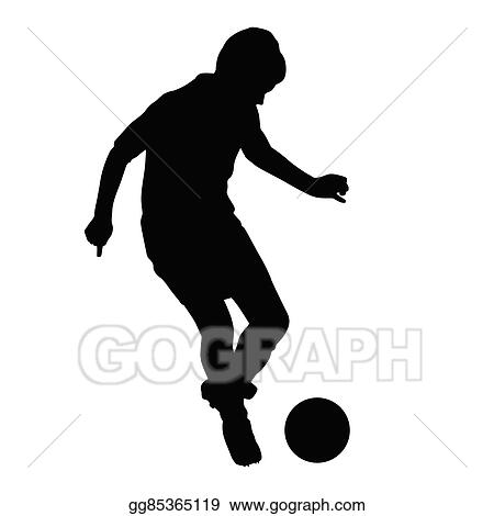 eps illustration young soccer player passes the ball American Football Player Silhouette Clip Art Football Player Clip Art