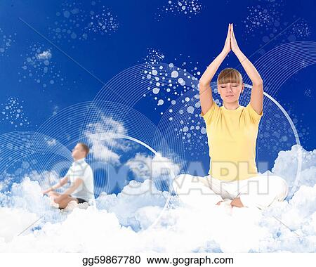 Woman doing yoga against blue sky clipart illustrations gg59867780