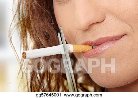 Young woman quiting smoking
