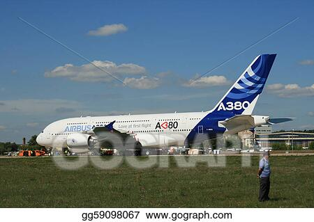ZHUKOVSKY, RUSSIA - AUGUST 19: A new Airbus A-380 plane prepares to take off during the Moscow Aerospace Show (MAKS-2011) on August 19, 2011 in Zhukovsky, Russia. A-380 is the biggest jet in the world